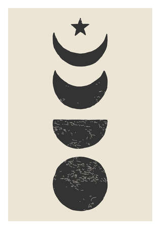Trendy Moon Phases abstract contemporary aesthetic poster, wall art decor 版權商用圖片 - 153264928