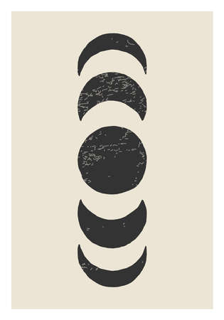 Trendy Moon Phases abstract contemporary aesthetic poster, wall art decor 版權商用圖片 - 153264954