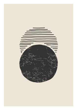 Trendy Moon Phases abstract contemporary aesthetic poster, wall art decor