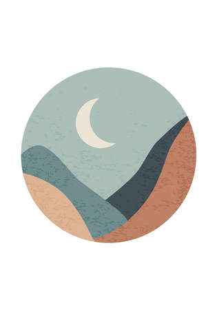Trendy minimalist landscape abstract contemporary collage design 版權商用圖片 - 153264965
