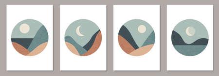 Trendy set of minimalist landscape abstract contemporary collage design 版權商用圖片 - 153269429