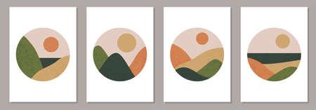 Set of trendy minimalist landscape abstract contemporary collage designs 版權商用圖片 - 153346859