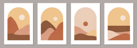 Set of trendy minimalist landscape abstract contemporary collage design