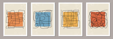 Trendy set of abstract aesthetic creative minimalist hand drawn composition  イラスト・ベクター素材
