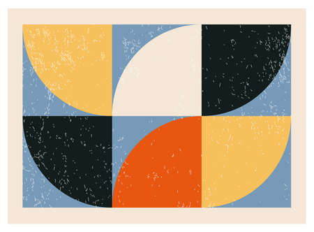 Minimalist 20s geometric abstract background design,  primitive shapes