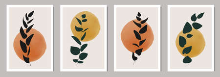 Set of minimalist posters with botanical branch and leaves abstract collage 矢量图像