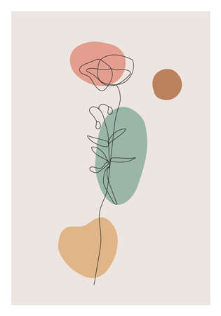 Minimalist botanical line art flower abstract collage