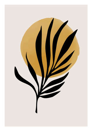 Minimalist botanical poster with branch leaves abstract collage 矢量图像