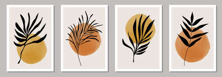 Set of minimalist botanical posters with branch leaves abstract collage