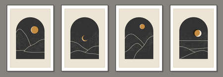 Set of trendy minimalist landscape abstract contemporary collages design