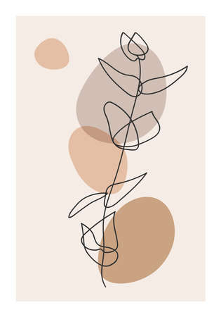 Minimalist botanical branch with leaves abstract collage