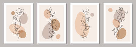 Set of minimalist posters with botanical branch and leaves abstract collage Ilustrace