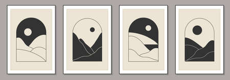 Set of trendy minimalist landscape abstract contemporary collages, mountains lake sunset wall art gallery poster design