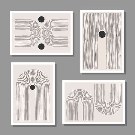 Trendy set of abstract creative minimal artistic hand sketched compositions