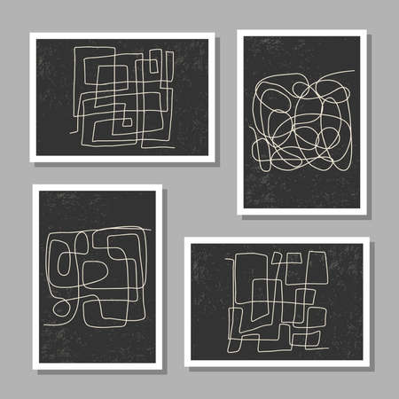 Trendy set of abstract aesthetic creative minimalist hand drawn composition Ilustrace