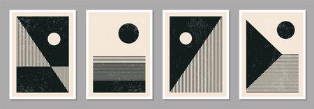 Set of minimal 20s geometric design posters, vector template Illusztráció