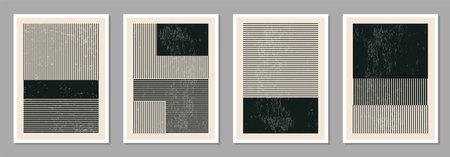 Minimal 20s geometric design poster set, vector template with primitive shapes Illusztráció