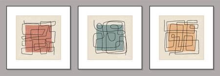 Trendy set of abstract aesthetic creative minimalist hand drawn composition Illusztráció