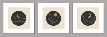 Set of trendy minimalist landscape mid century abstract art design Ilustracja