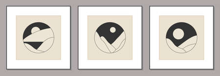 Set of trendy minimalist landscape mid century abstract art design Zdjęcie Seryjne - 161772764