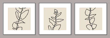 Set of minimalist posters with botanical branch and leaves abstract collage Zdjęcie Seryjne - 161772733