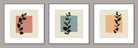 Set of minimalist posters with botanical branch and leaves abstract collage Ilustracja