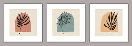 Set of minimalist posters with botanical branch and leaves abstract collage Zdjęcie Seryjne - 161772734