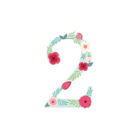 Cute vintage number two with flowers