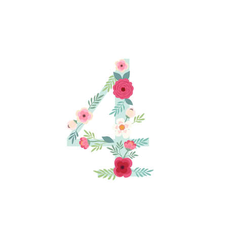 Cute vintage number four with flowers