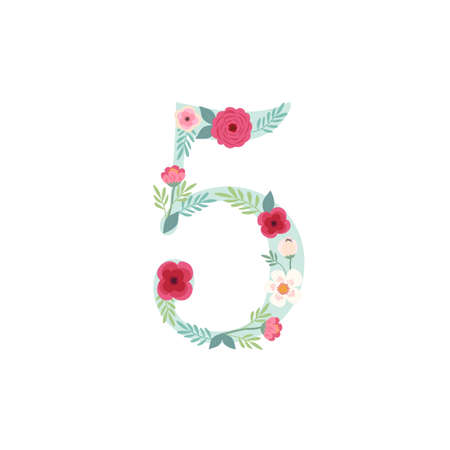 Cute vintage number five with flowers