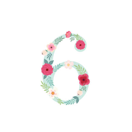Cute vintage number six with flowers