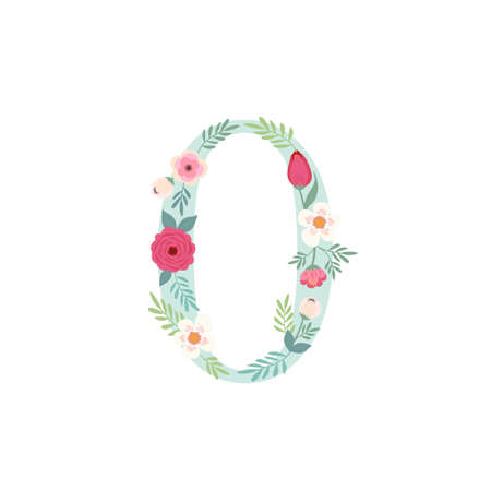 Cute vintage number zero with flowers