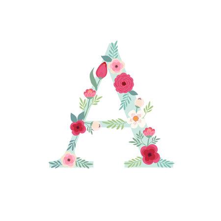 Alphabet letter A with flowers Zdjęcie Seryjne - 161772769