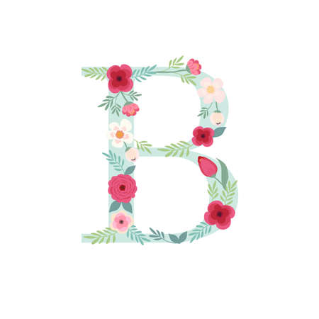 Alphabet letter B with flowers