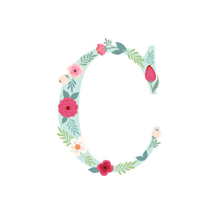 Alphabet letter C with flowers
