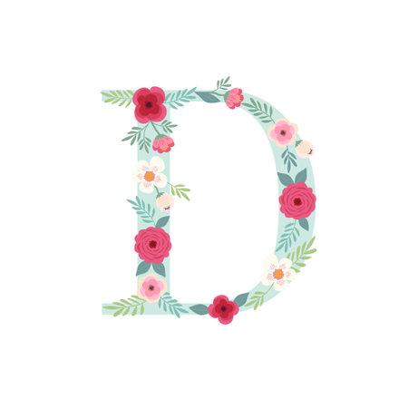 Alphabet letter D with flowers