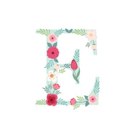 Alphabet letter E with flowers Ilustracja