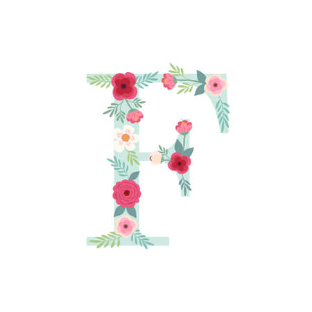 Alphabet letter F with flowers