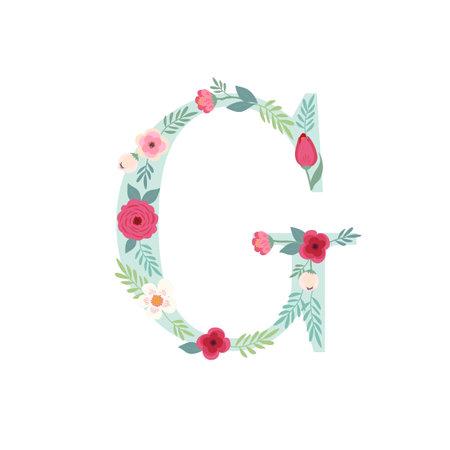 Alphabet letter G with flowers Ilustracja