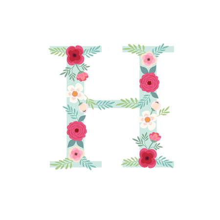 Alphabet letter H with flowers Ilustracja