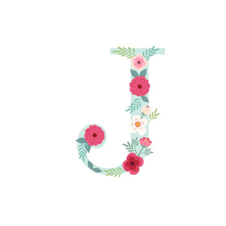 Alphabet letter J with flowers Ilustracja