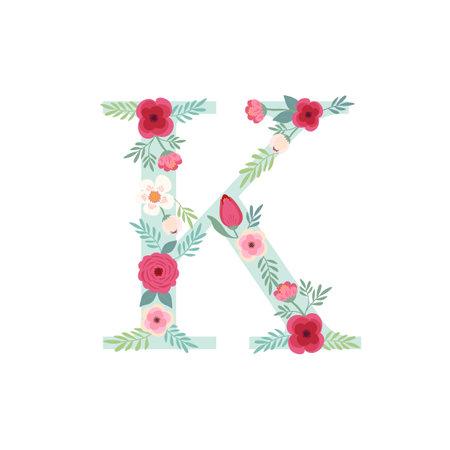 Alphabet letter K with flowers Ilustracja