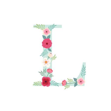 Alphabet letter L with flowers