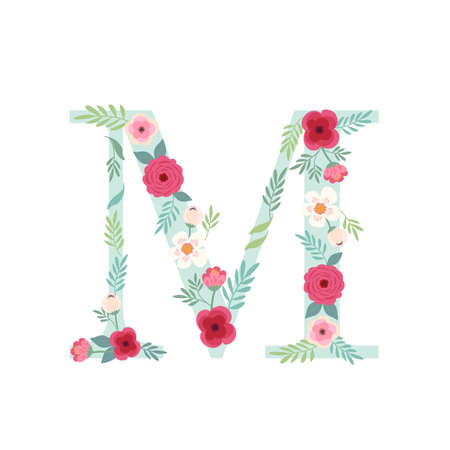 Alphabet letter M with flowers