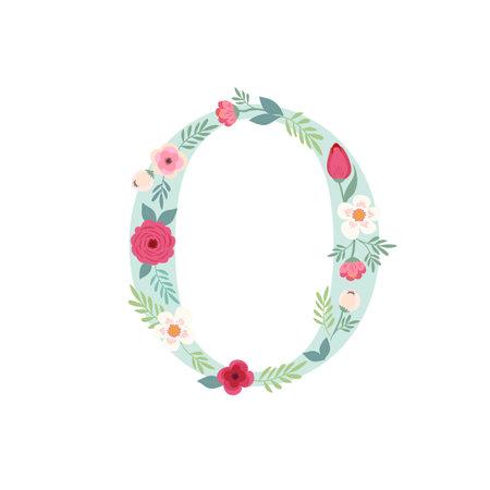 Alphabet letter O with flowers Ilustracja