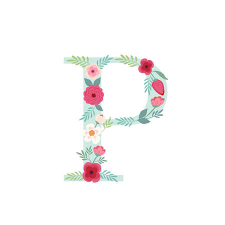 Alphabet letter P with flowers