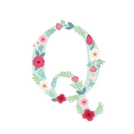 Alphabet letter Q with flowers Zdjęcie Seryjne - 161772792