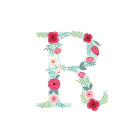 Alphabet letter R with flowers Ilustracja