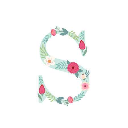 Alphabet letter S with flowers