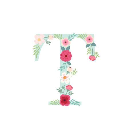 Alphabet letter T with flowers Zdjęcie Seryjne - 161772793
